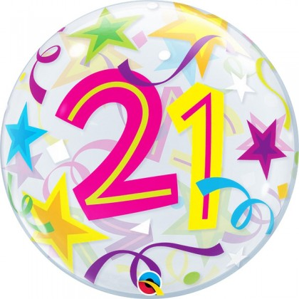 """Q 22"""" Number 21 Stars And Swirls Bubble Balloon"""