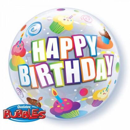 "Q 22"" Birthday Colour Cupcakes Bubble Balloon"