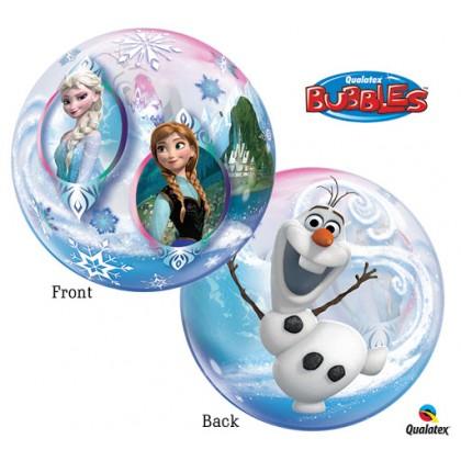 """Q 22"""" Disney Frozen Elsa,Anna & Olaf Bubble Balloon"""