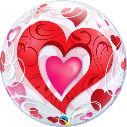 """Q 22"""" Heart In Heart With Heart Design Bubble Balloon"""