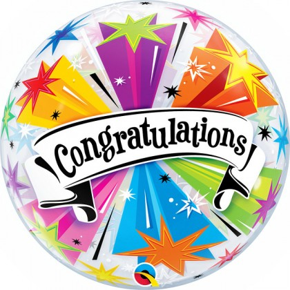 "Q 22"" Congratulations With Stars And Swirls Bubble Balloon"