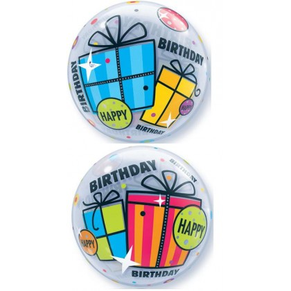 "Q 22"" Happy Birthday Fun & Funky Gift Bubble Balloon"