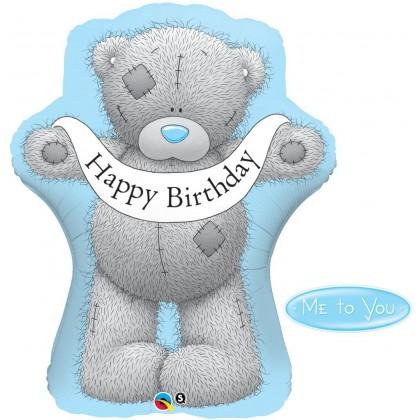"""Q 36"""" Happy Birthday Tatty Teddy Blue"""