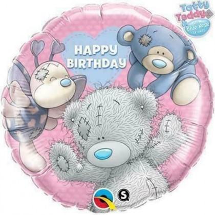 "Q 18"" Happy Birthday Tatty Teddy With Friends Pink"