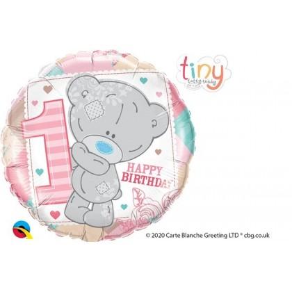 "Q 18"" Happy 1ST Birthday Tatty Teddy Pink"