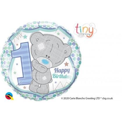 """Q 18"""" Happy 1ST Birthday Tatty Teddy Blue"""
