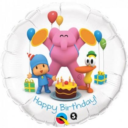 "Q 18"" Pocoyo With Friends Happy Birthday"