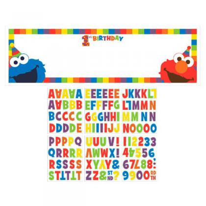 Sesame Street Elmo Turns One Personalized Giant Banner Kit - Plastic