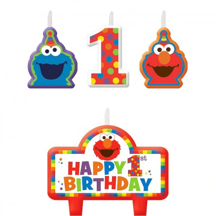 Sesame Street Elmo Turns One Birthday Candle Set