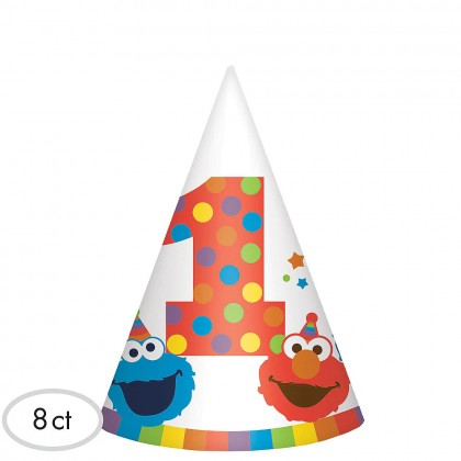 Sesame Street Elmo Turns One Cone Hats - Paper