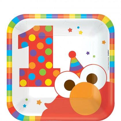 Sesame Street Elmo Turns One Square Plates 7 in