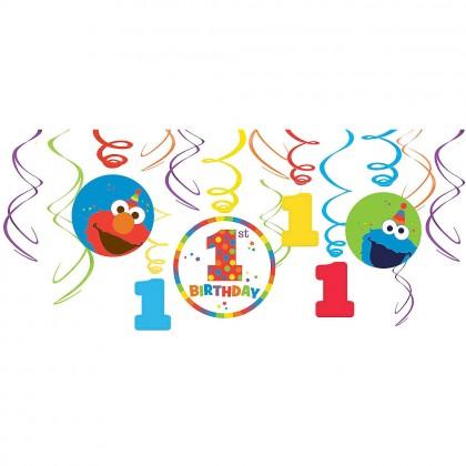 Sesame Street Elmo Turns One Value Pack  Swirl Decorations