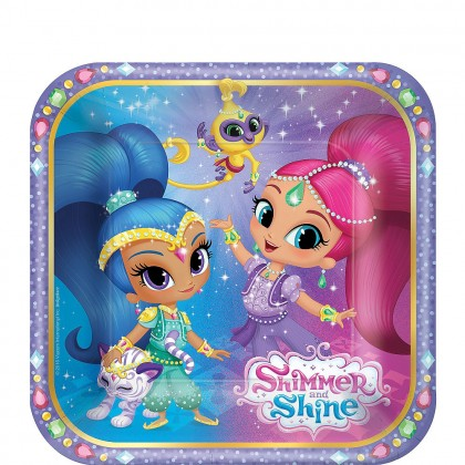 Shimmer and Shine™ Square Plates, 7 in
