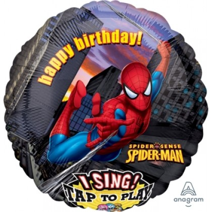 "P75 28"" Spider-Man Birthday Jumbo Sing-A-Tune® XL® Foil Balloon"