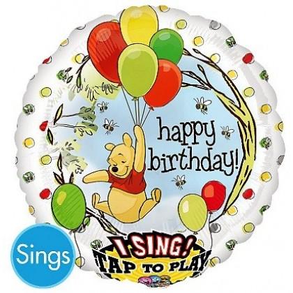 "P75 28"" Pooh Birthday Jumbo Sing-A-Tune® XL® Foil Balloon"