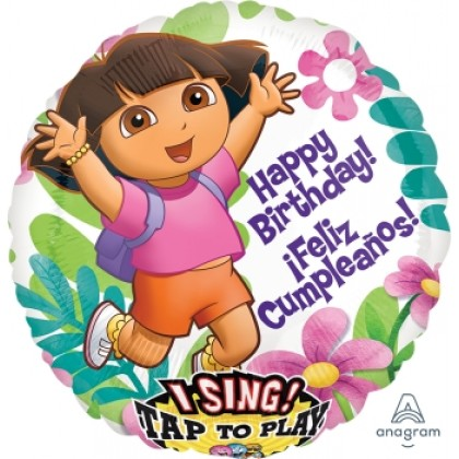 "P75 28"" Dora Birthday/Cumpleaños Jumbo Sing-A-Tune® XL® Foil Balloon"