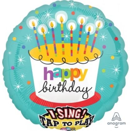 "P60 28"" Striped Birthday Candles Jumbo Sing-A-Tune® XL® Foil Balloon"
