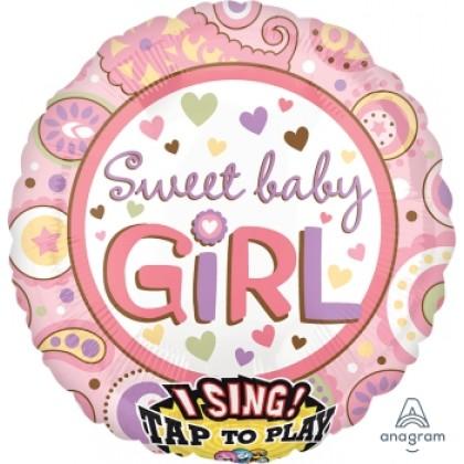 "P60 28"" Sweet Baby Girl Jumbo Sing-A-Tune® XL® Foil Balloon"