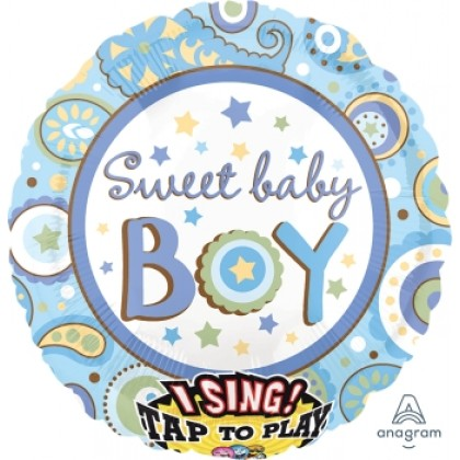 "P60 28"" Sweet Baby Boy Jumbo Sing-A-Tune® XL® Foil Balloon"