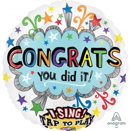 """P60 28"""" Congrats Jumbo Sing-A-Tune® XL® Foil Balloon"""