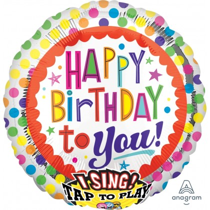 """P60 28"""" Happy BDay to You Dots Jumbo Sing-A-Tune® XL® Foil Balloon"""