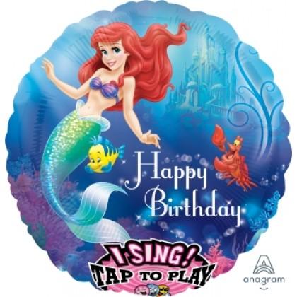 """P75 28"""" Little Mermaid Happy Birthday Jumbo Sing-A-Tune® XL® Foil Balloon"""