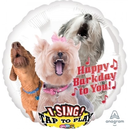 """P60 28"""" Happy Bark Day to You Jumbo Sing-A-Tune® XL® Foil Balloon"""
