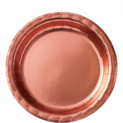 Round Paper Plates 8.5 in Metallic Rose Gold