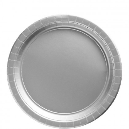 Paper Plates 9 in Silver