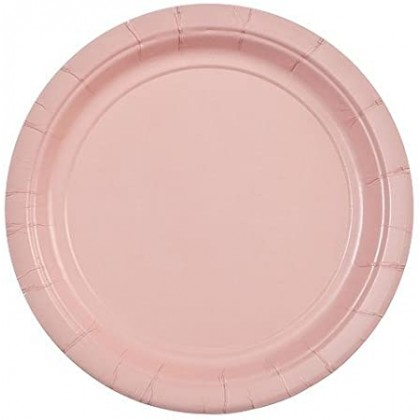 Round Paper Plates 9 in Blush Pink