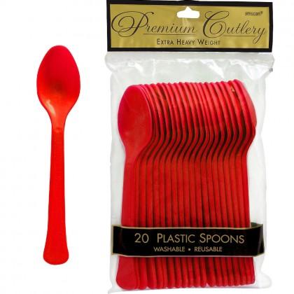 Red Premium Plastic Spoon