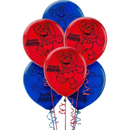 Super Mario Brothers™ Ptd. Latex Balloons - Asst. Colors
