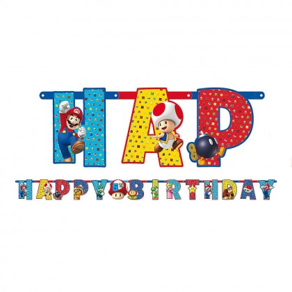 Super Mario Brothers™ Jumbo Add-An-Age Letter Banner - Printed Paper