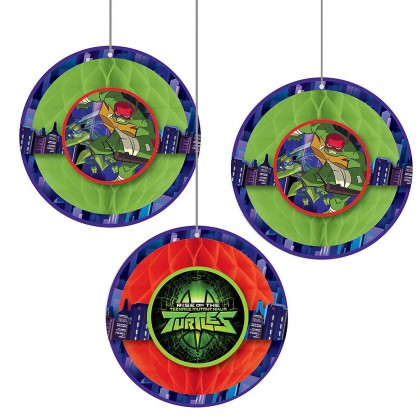 Rise Of The TMNT ™ Honeycomb Decorations - Tissue w/Paper Cutouts