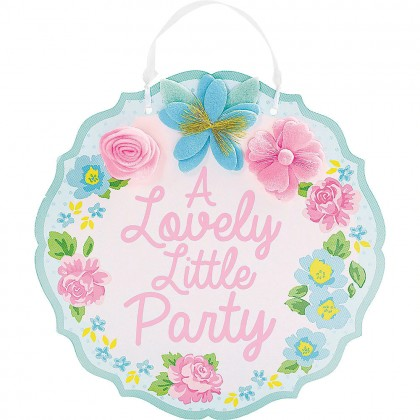 Tea Party MDF Sign with Felt and Ribbon Hanger