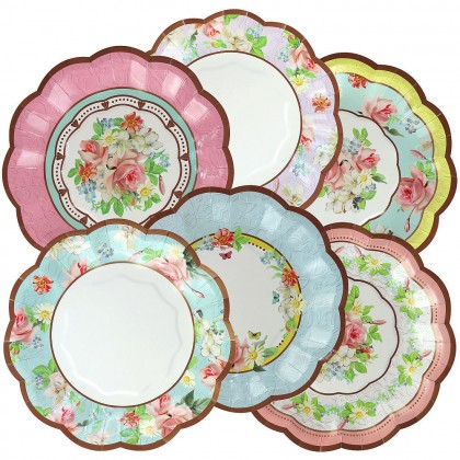 Tea Party Shaped Plates 7 in