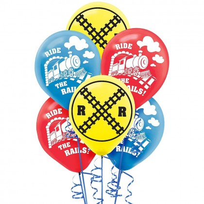 Train Printed Latex Balloons Asst Colors