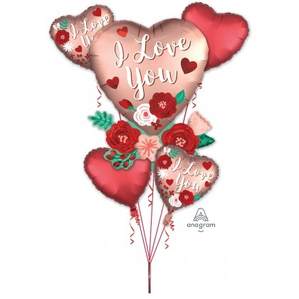 P75 Satin Heart With Flowers Bouquet