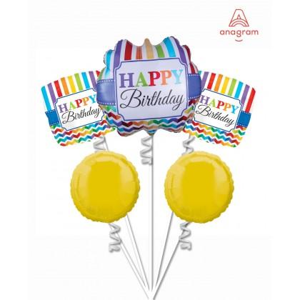 Chevron Happy Birthday Balloon Bouquet