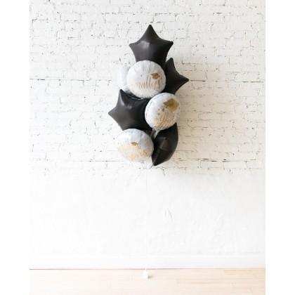 Black, White, Gold Palette Graduation Foil Balloons - bouquet of 10