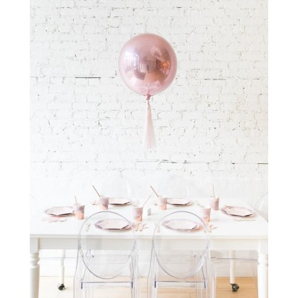 CherryBlossoms 16in Rose Gold Orb Foil Balloon and Mauve Skirt Centerpiece