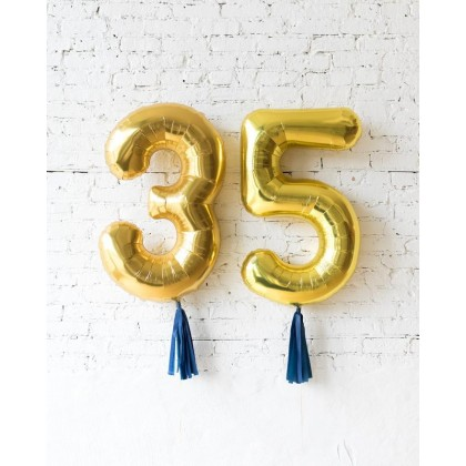 Blue Aurette 34in Gold Foil Numbers with Navy skirt