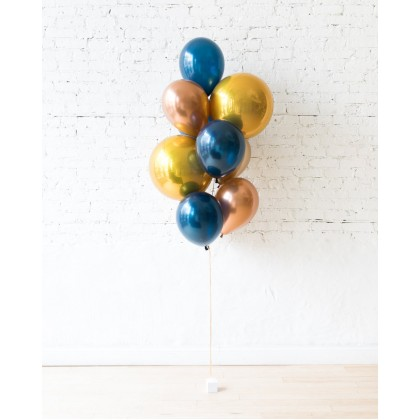Blue Aurette - Orbs and 11in Balloons - bouquet of 10