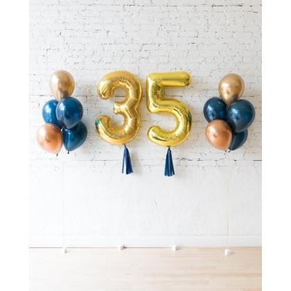 Blue Aurette - Custom Numbers & 11in balloon bouquets set