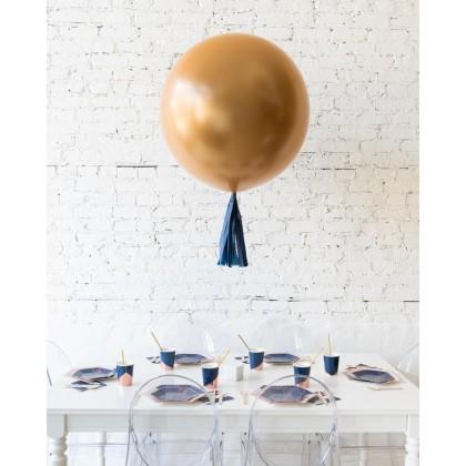 Blue Aurette Brass Gold Giant Balloon and Navy Skirt Centerpiece