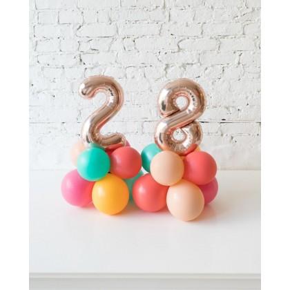 BubbleGum - Tabletop Foil Number on Balloon Base - 1.5FT