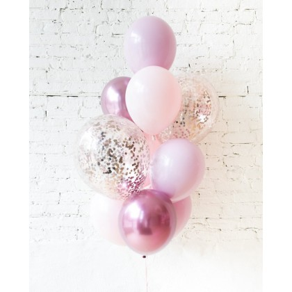 CherryBlossoms - Confetti and 11in Balloons - bouquet of 10
