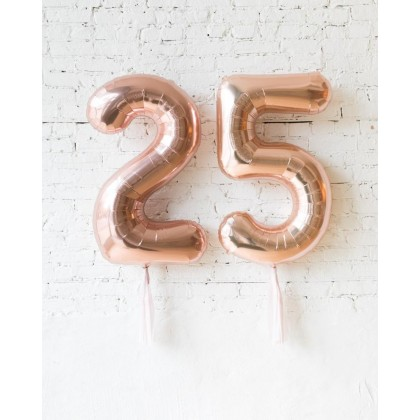 CherryBlossoms Custom 34in Rose Gold Foil Numbers with Mauve Skirt