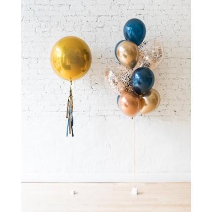 Blue Aurette - 21in Orb & confetti bouquet set
