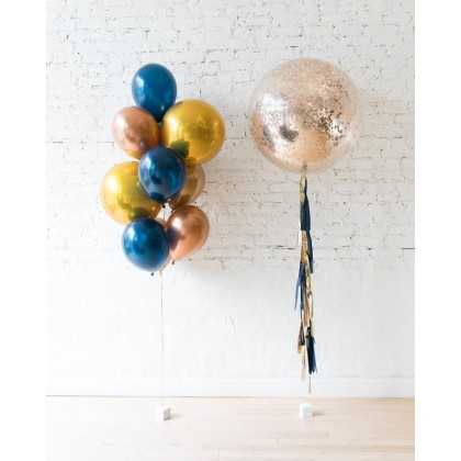Blue Aurette - Confetti Giant & Orbs and 11in bouquet set